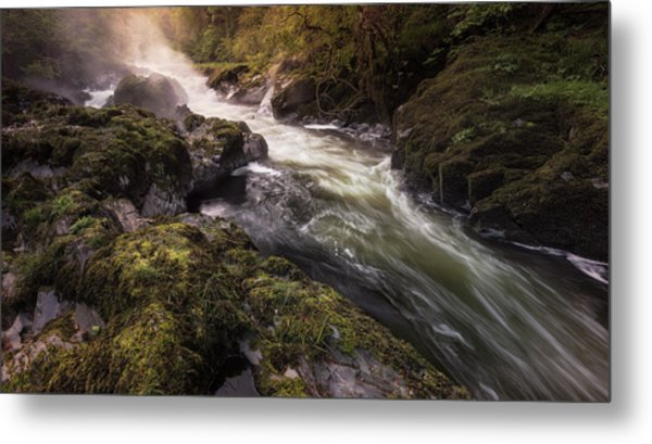 Metal Print featuring the photograph The Teifi At Henllan Falls by Elliott Coleman
