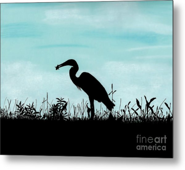 Heron Has Supper Metal Print