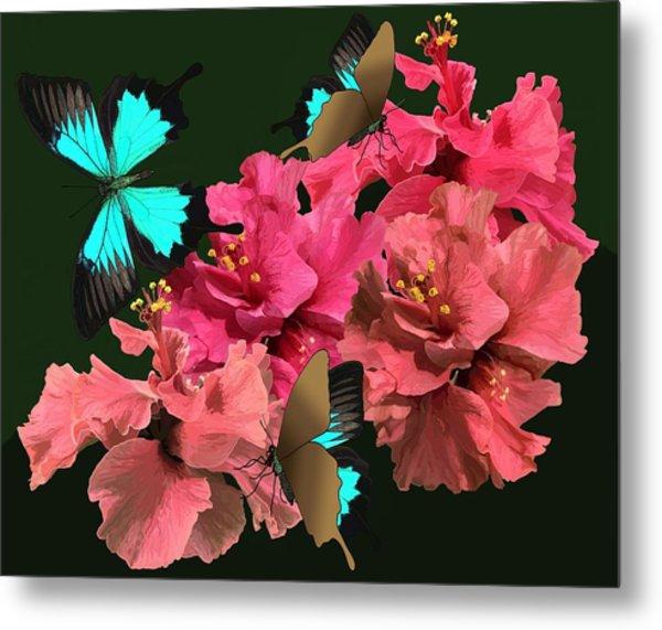 Hibiscus Butterfly Joy Metal Print