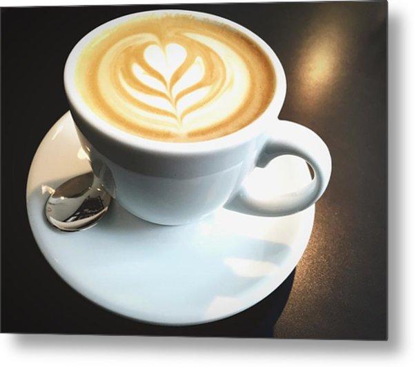 High Angle View Of Coffee On Table Metal Print by Fabian Krause / Eyeem