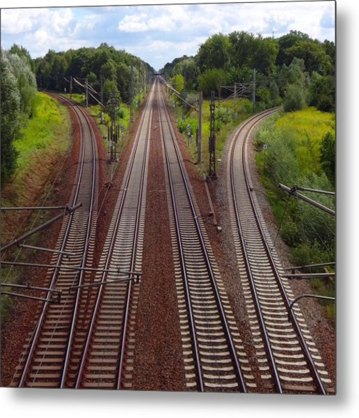 High Angle View Of Empty Railroad Tracks Metal Print by Thomas Albrecht / Eyeem
