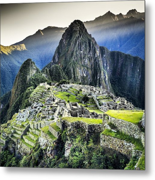 High Angle View Of Machu Picchu Against Metal Print by Diego Cambiaso / Eyeem
