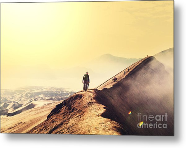 Hike In Bromo Volcano Metal Print