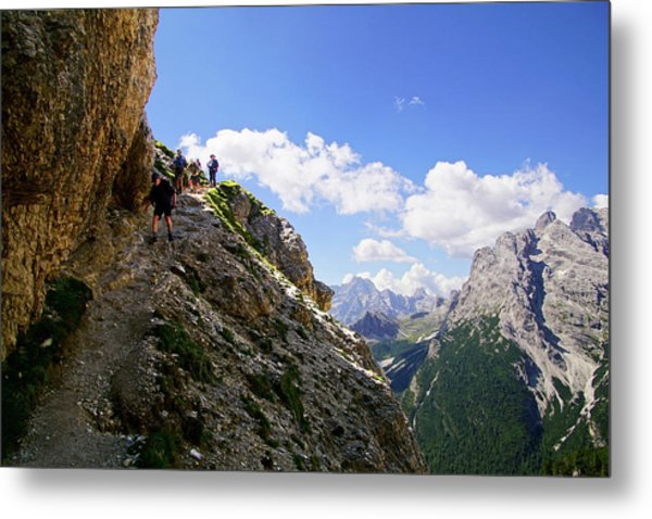 Hikers On Steep Trail Up Monte Piana Metal Print