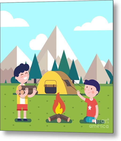 Hiking Kids At The Campfire Near Their Metal Print