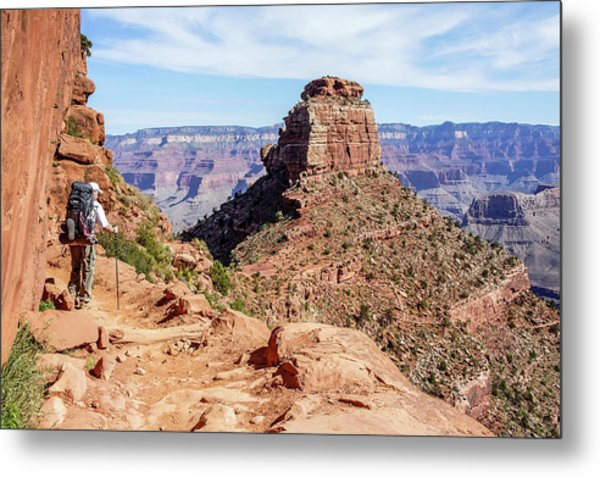 Metal Print featuring the photograph Hiking Toward O'neill Butte, Grand Canyon by Dawn Richards
