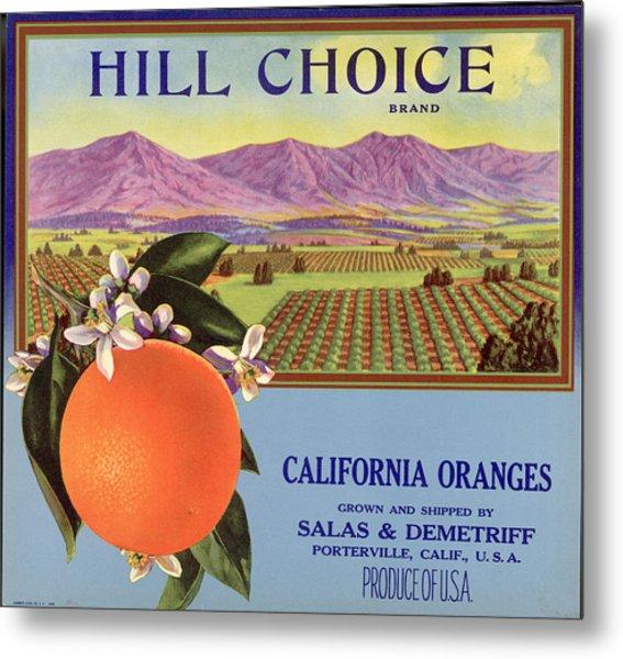 Hill Choice Brand Fruit Box Label Metal Print