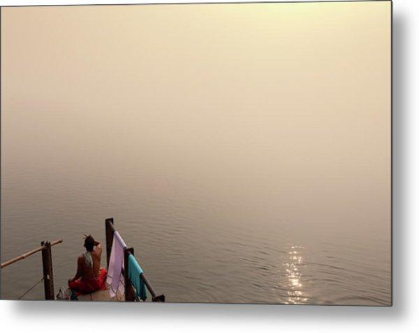 Hindu Brahmin Meditating In The Fog Metal Print