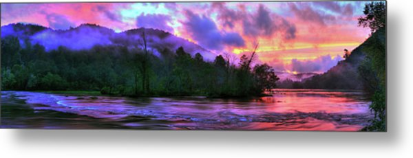Hiwassee River Sunset Pano Metal Print
