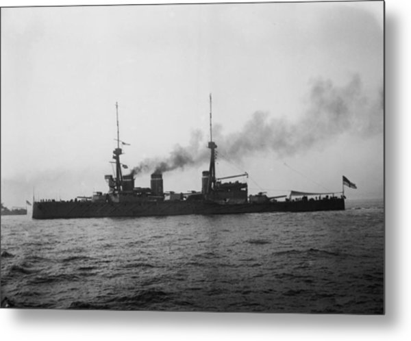Hms Invincible Metal Print by Topical Press Agency