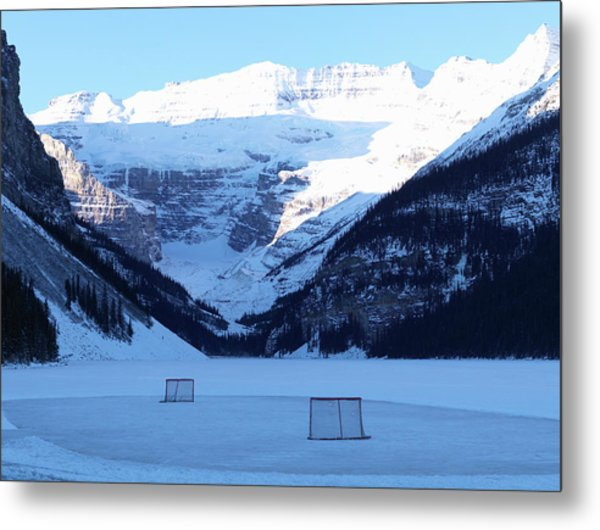 Hockey Net On Frozen Lake Metal Print
