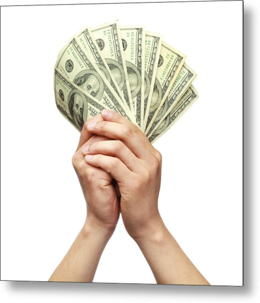 Holding Money With Both Hands Metal Print by Kativ