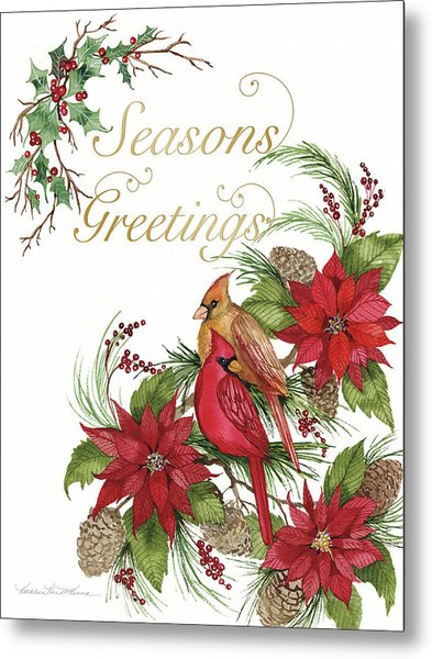 Holiday Happiness Vi Greetings Metal Print by Kathleen Parr Mckenna