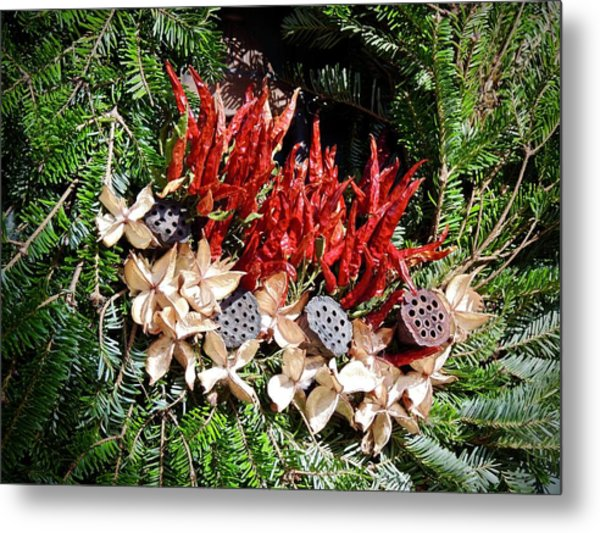 Holiday Peppers Metal Print