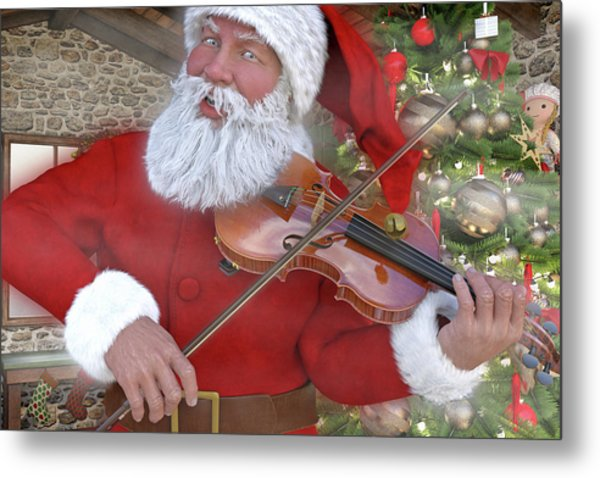 Holiday Santa Playing Violin Custom Metal Print
