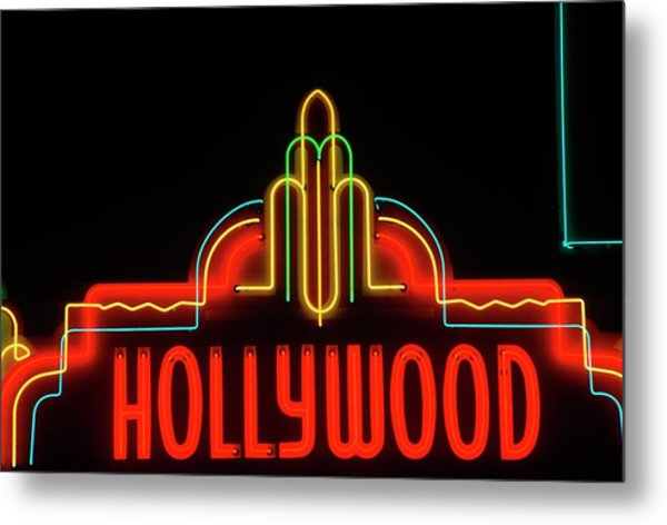 Hollywood Neon Sign, Los Angeles Metal Print