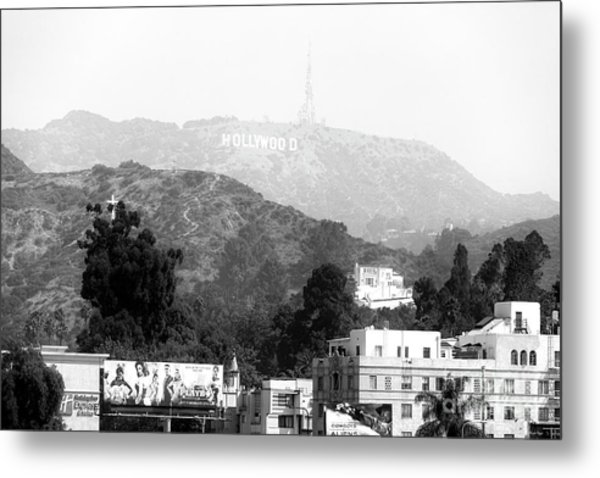 Hollywood Sign Black And White Metal Print