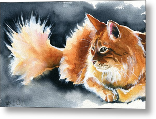 Holy Ginger Fluff - Cat Painting Metal Print