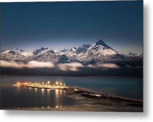 Homer Spit With Moonlit Mountains Metal Print