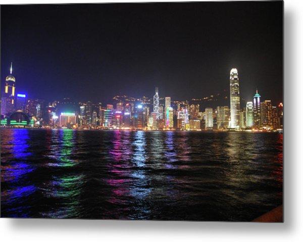 Hong Kong Island At Night From Kowloon Metal Print