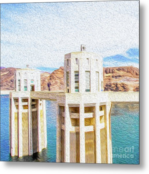 Metal Print featuring the digital art Hoover Dam Rendition I by Kenneth Montgomery
