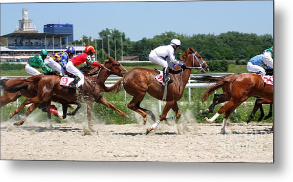 Horse Race For The Prize Metal Print