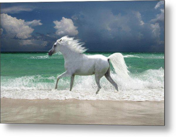 Horse Running Through Surf Metal Print