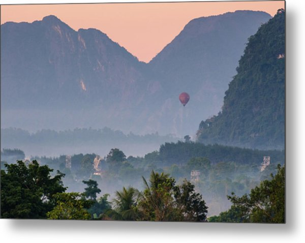 Metal Print featuring the photograph Hot Air Ballon In Laos by Nicole Young