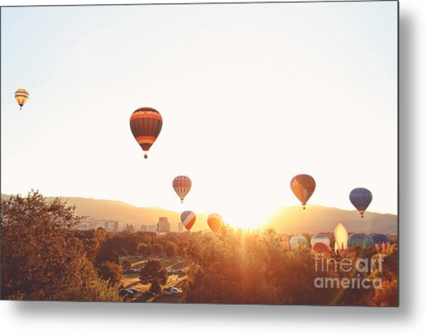 Hot Air Balloons In The Sky During Metal Print by Annette Shaff
