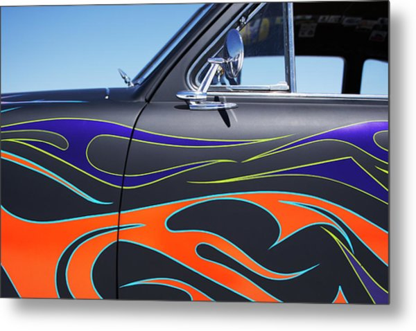 Hot Rod Car With Colorful Flame Design Metal Print by Nash Photos