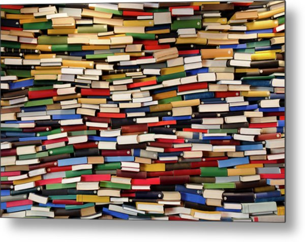 Huge Stack Of Books - Book Wall Metal Print by Funky-data
