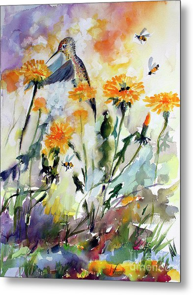 Metal Print featuring the painting Hummingbird And Dandelions by Ginette Callaway