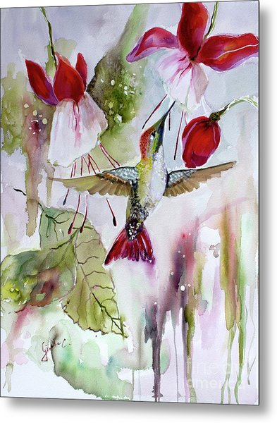 Metal Print featuring the painting Hummingbird And Flowers by Ginette Callaway