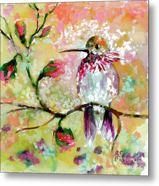 Metal Print featuring the painting Hummingbird Pink Blossoms by Ginette Callaway