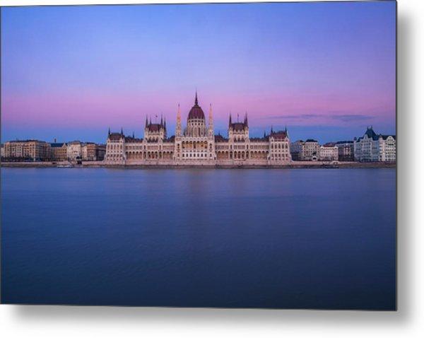 Hungarian Parliament At Dusk Metal Print
