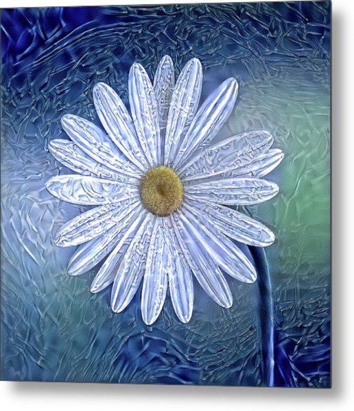 Ice Daisy Flower Metal Print