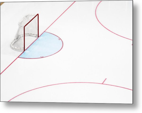 Ice Hockey Goal Net And Empty Rink Metal Print