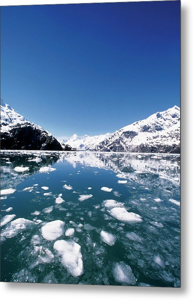Ice Melting On John Hopkins Glacier Metal Print by Medioimages/photodisc