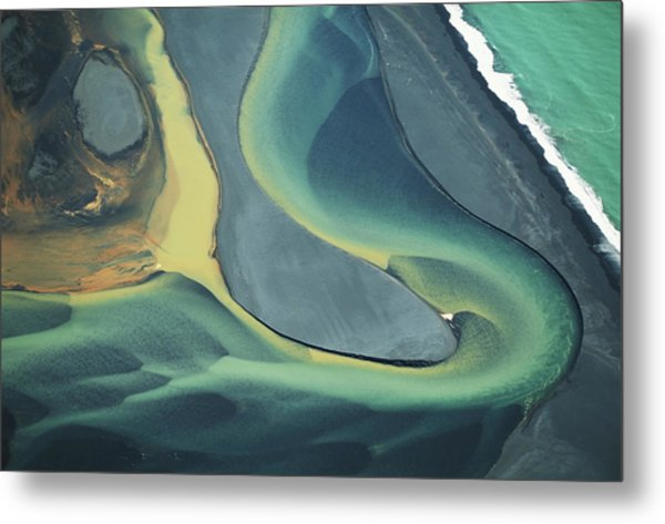 Iceland, Colorful Volcanic Sediment In Metal Print