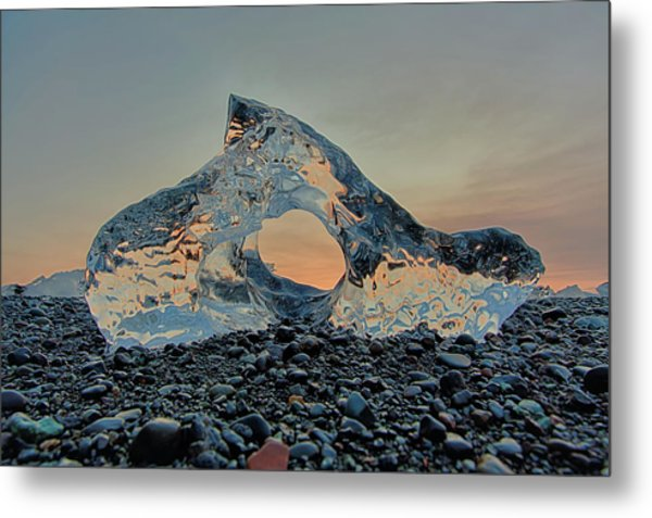 Iceland Diamond Beach Abstract  Ice Metal Print