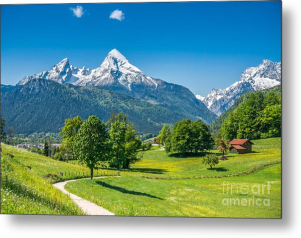 Idyllic Summer Landscape In The Alps Metal Print