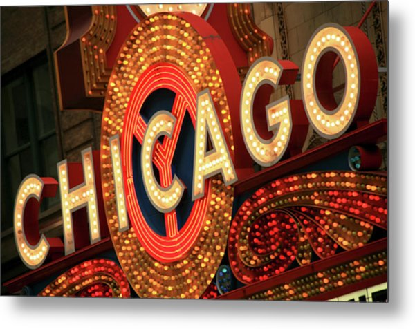 Illuminated Chicago Theater Sign Metal Print