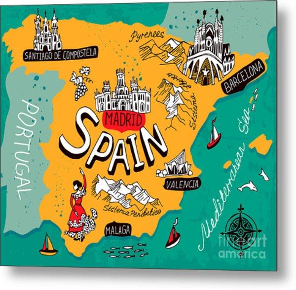 Illustrated Map Of Spain Metal Print