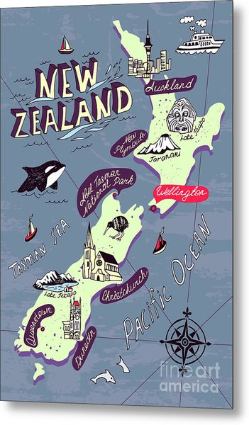 Illustrated Map Of The New Zealand Metal Print
