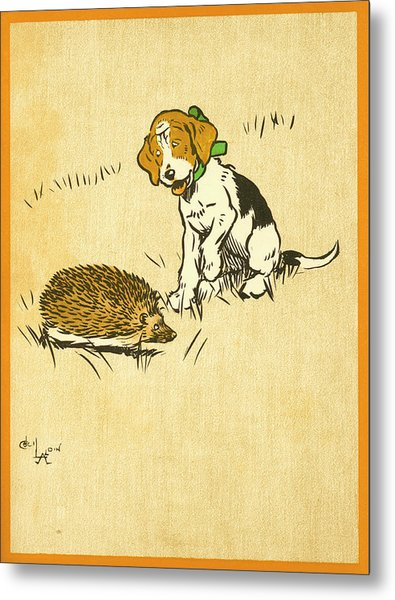 Puppy And Hedgehog, Illustration Of Metal Print