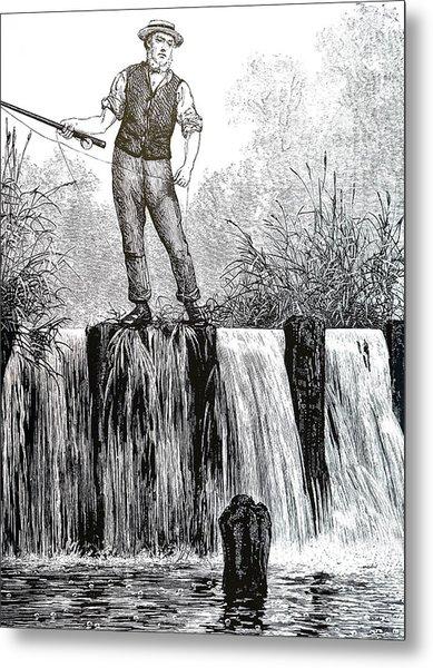 Illustration Depicting A Fisherman Metal Print