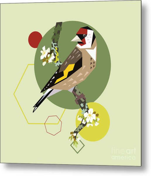 Illustration Of A Bird On Blooming Metal Print