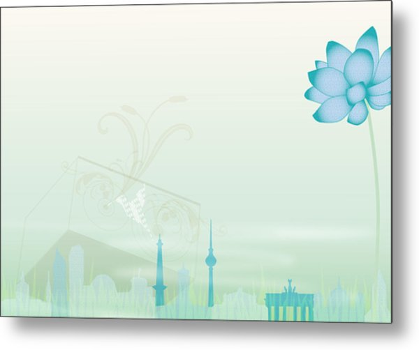 Illustration Of A Blue Flower And Metal Print by Stock4b-rf