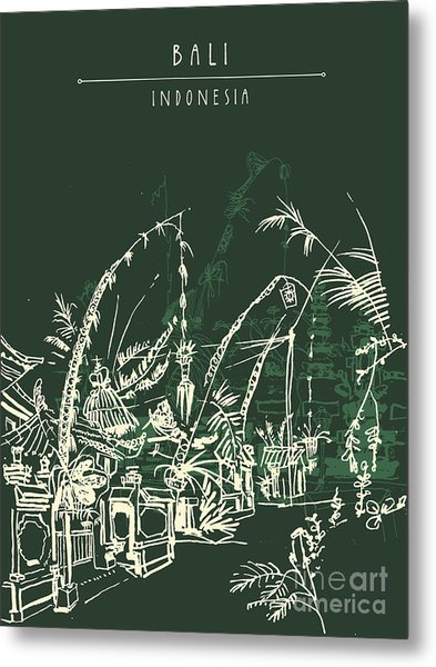 Illustration Of A Decorated Street In Metal Print