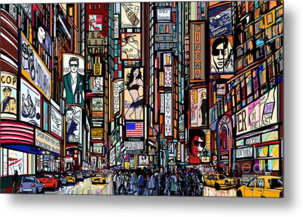 Illustration Of A Street In New York Metal Print